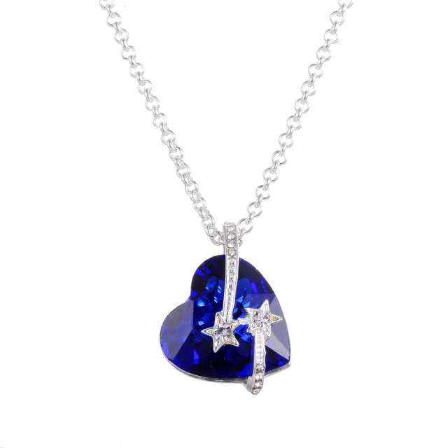 Star with blue crystal titanic heart ocean love necklaces pendants star with blue crystal titanic heart ocean love necklaces pendants for women fashion jewelry birthday aloadofball Image collections