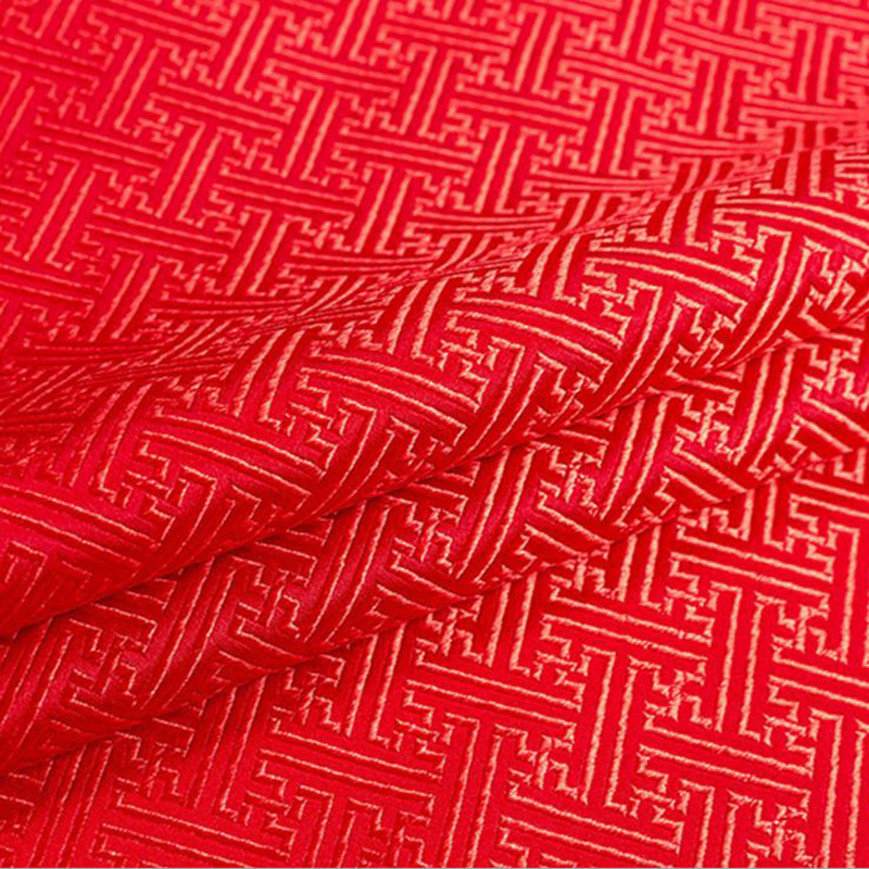 new arrival brocade red The Great Wall grid fabric for patchwork felt tissue telas dress bed sheet children cloth coat 100x75cm