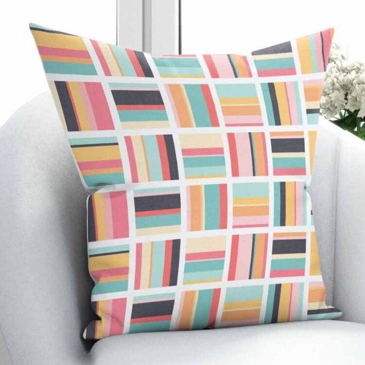 Else Green Blue Orange Red Line Geometric Nordec Patchwork 3D Print Throw Pillow Case Cushion Cover Square Hidden Zipper 45x45cm|Pillow Case| |  - title=