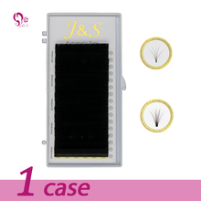 J&S  1 case new arrived bloom eyelash easy fan lashes self-making auto fans faux mink extension