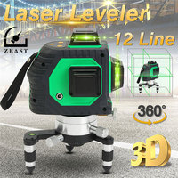 360 Rotaty 12 Line 3D Green Laser Level Self Leveling Vertical Horizontal Cross Multifunction Outdoor Receive