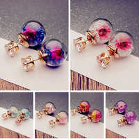 Hot Sell 2017 New Women Fashion Elegant Dried Flower Rhinestone Ball Ear Studs Earrings Gi
