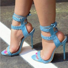 Elegant Blue Weave Braid Ankle Strap Women Sandals Cut-out Peep Toe Thin Heels Gladiator Sandals Women Lace-up Banquet Shoes sexy burgundy suede ankle strap women sandals cut out peep toe lace up summer shoes thin heels gladiator sandals women