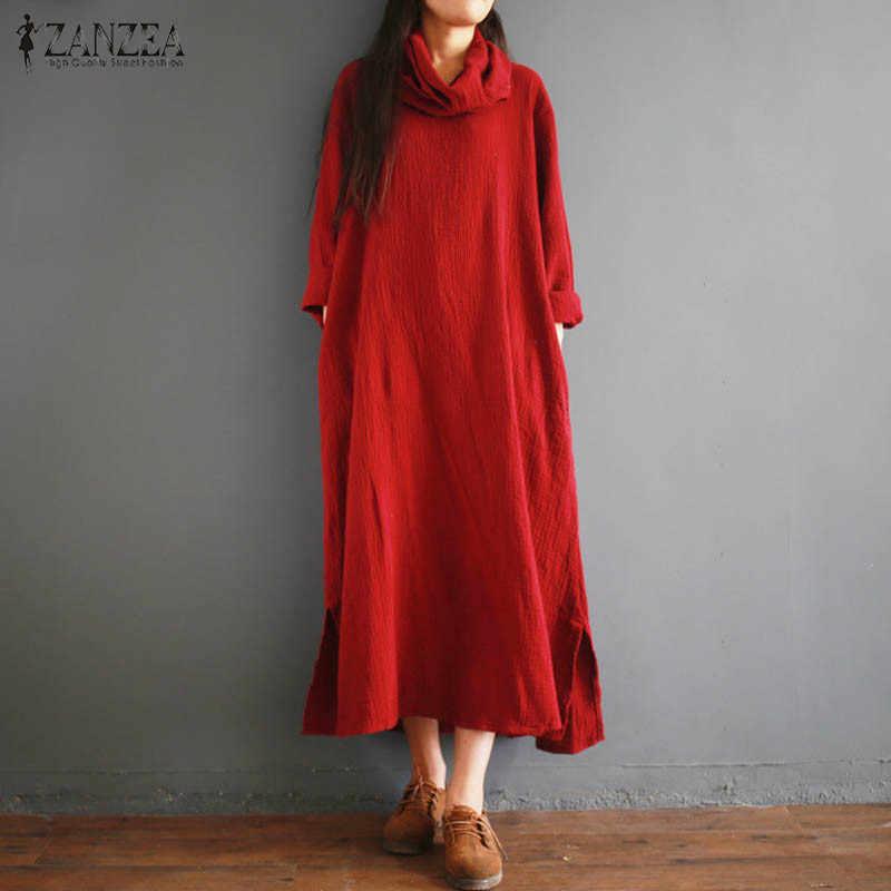 8935f09772 ... 2018 ZANZEA Fashion Women Long Sleeve Linen Kaftan Vestido Autumn Casual  Loose Solid Cotton Party Split ...