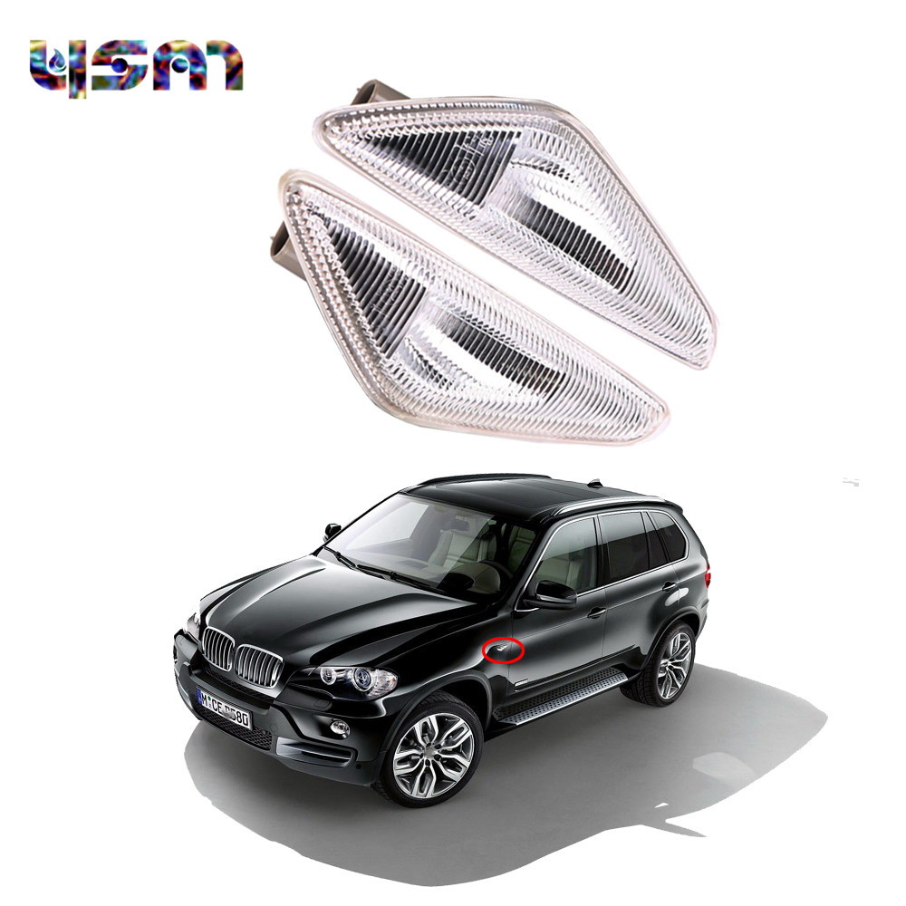 Qty 2 R&L Fender Side Marker Turn Signal Light LED for BMW X5 E70 2007-2014 BMW X3 F25 2011-2015 BMW X6 E71 2008-2014 4pcs black led front fender flares turn signal light car led side marker lamp for jeep wrangler jk 2007 2015 amber accessories