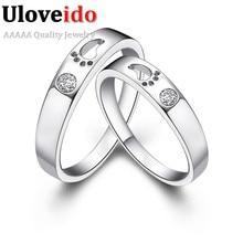 Uloveido кристалл кольцо женщины обручальное серебряный цвет обручальные кольца для мужчин и женщин пара кольцо пара кольцо год сбора винограда ювелирных изделий j013