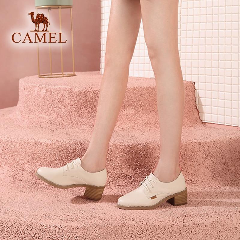 Ayakk.'ten Kadın Pompaları'de DEVE Bahar Yeni Moda Pembe Rahat Kadın tek ayakkabı Kadın Hakiki Deri Retro Elbise Ayakkabı Bayanlar Med Topuk Pompaları'da  Grup 3