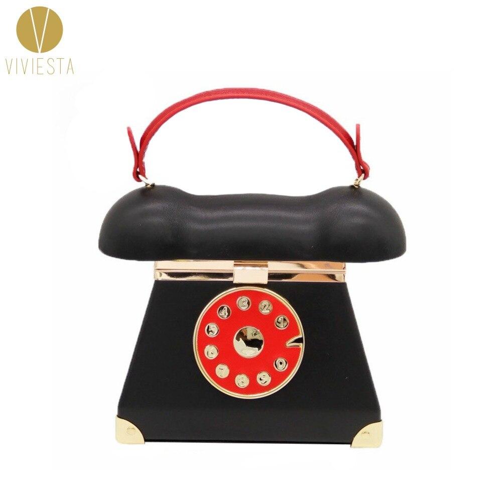 Téléphone rotatif à travers sac à main femmes Vintage rétro ancienne mode nouveauté déclaration Unique poignée supérieure bandoulière pochette