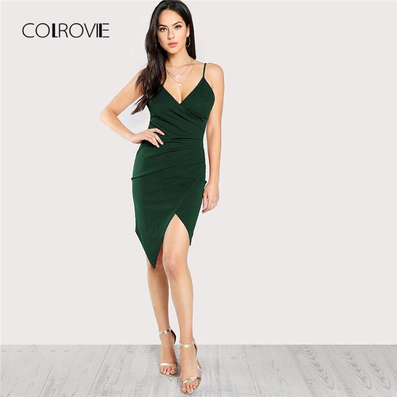 COLROVIE Green, с глубоким v-образным вырезом, тонкое сексуальное платье на бретельках, для женщин 2018, Осеннее праздничное платье без рукавов, элега...