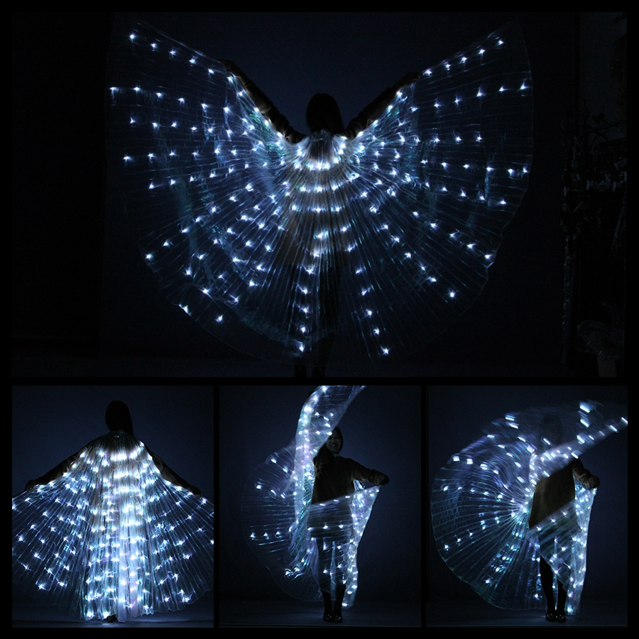 New Belly Dance Lamp Props Women Belly Dance Open 360 Degrees Led Shining Wings Girls Wings Angle Of Opening Dancer Props Wings Stage & Dance Wear