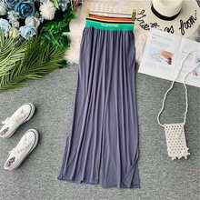 NiceMix Elastic High Waist Women Wide Pants Split Female Trousers Big Pocket Summer Pants For Women Plus Size Cotton Pants Woman