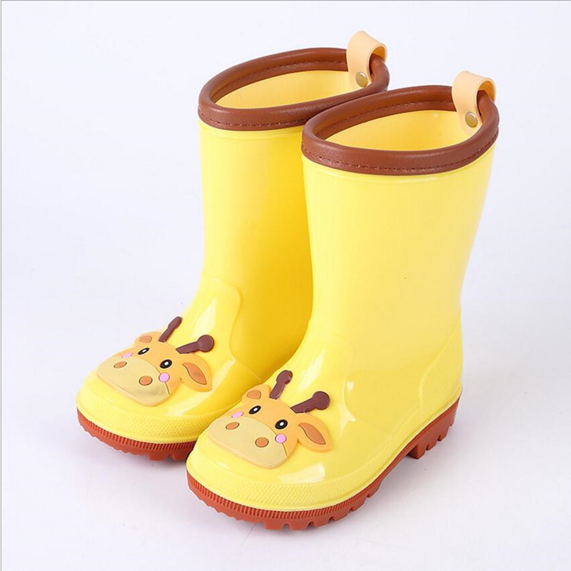 Childrens Outdoor Rainshoes Boys and Girls Cartoon Animals Rainshoes Kids Waterproof Rubber Shoes Baby Rain Boots