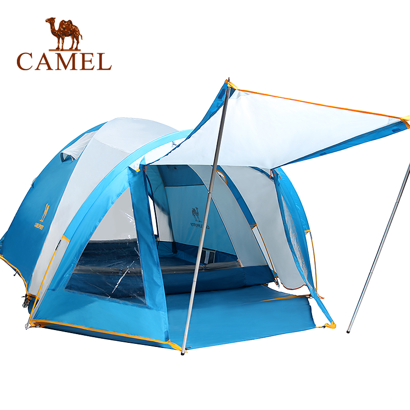 CAMEL Large Space Camping Tent 3 Season Double Layer Waterproof Beach Travel Tent For 3-4 Person camel automatic opening camping tent solid color 4 season double layer waterproof outdoor travel beach tent for 3 4 person