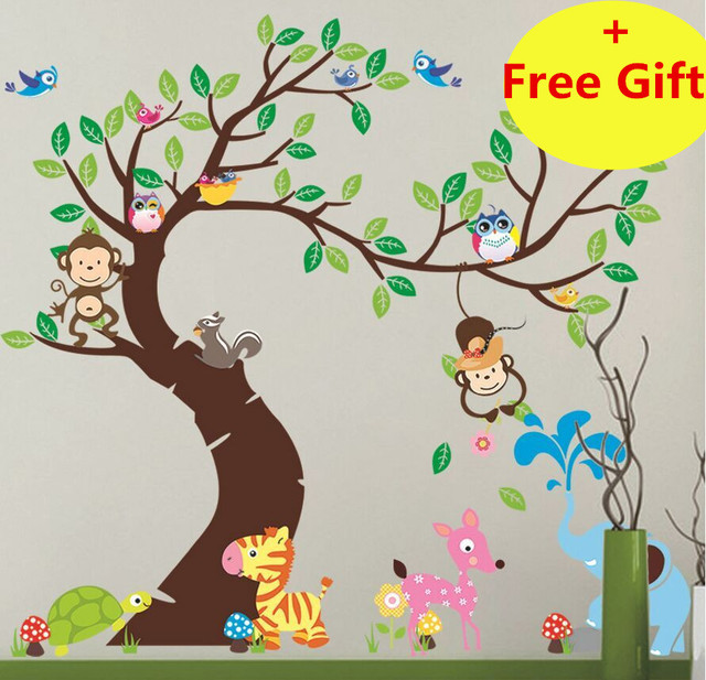 Forest Green Tree Animal Monkey Cartoon Wall Sticker Home Decals Decoration Wallpaper Kids Rooms Nursery