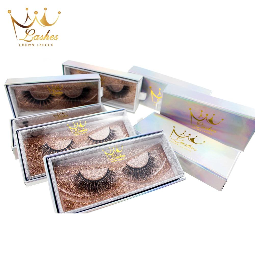 CrownLashes 6d 3d Mink False Eyelashes Natural Custom Box Packages Private Label Individual Eyelashes Fake Eyelashes