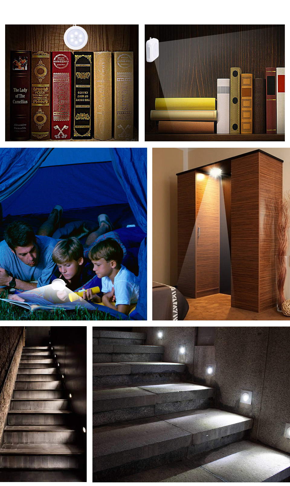 6LEDs Wireless PIR Auto Motion Sensor Infrared Night Light Cabinet Stair Lamp pw