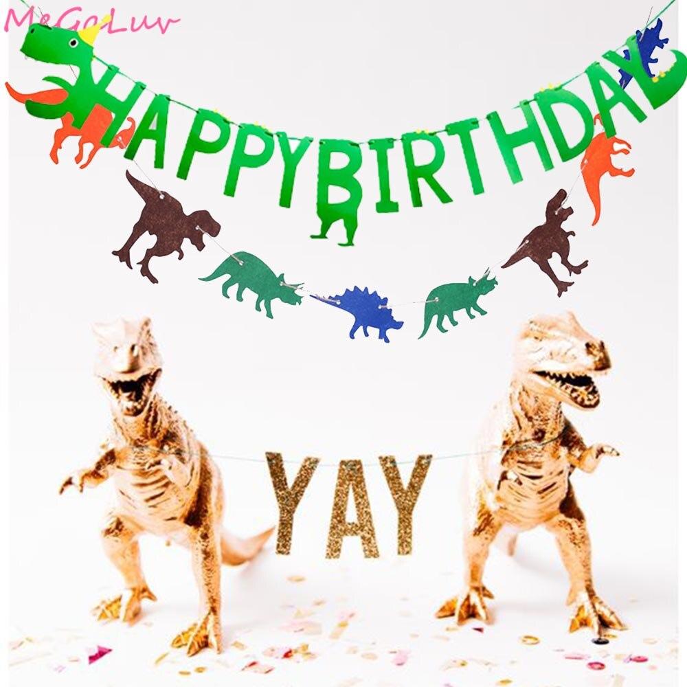 Тематический баннер с динозавром на первый день рождения, гирлянда с динозавром на день рождения, украшения для детского дня рождения
