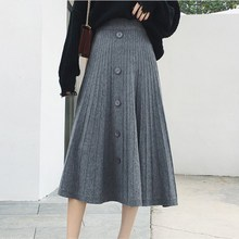Single-breasted knitted long pleated skirt A-line high waist midi female 2018 autumn winter Casual women bottom