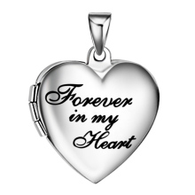 Memorial women Forever in my heart photo locket pendant stai