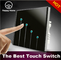 Luxury Design 110V 220V Black 4 Gangs 2 Way Waterproof LED Touch Light Switches Wall Switch
