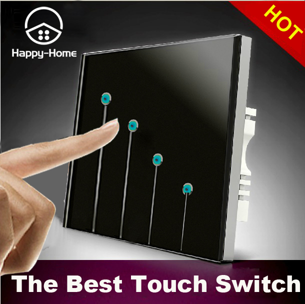 luxury design 110v 220v black 4 gangs 2 way waterproof led touch light switches wall switch. Black Bedroom Furniture Sets. Home Design Ideas