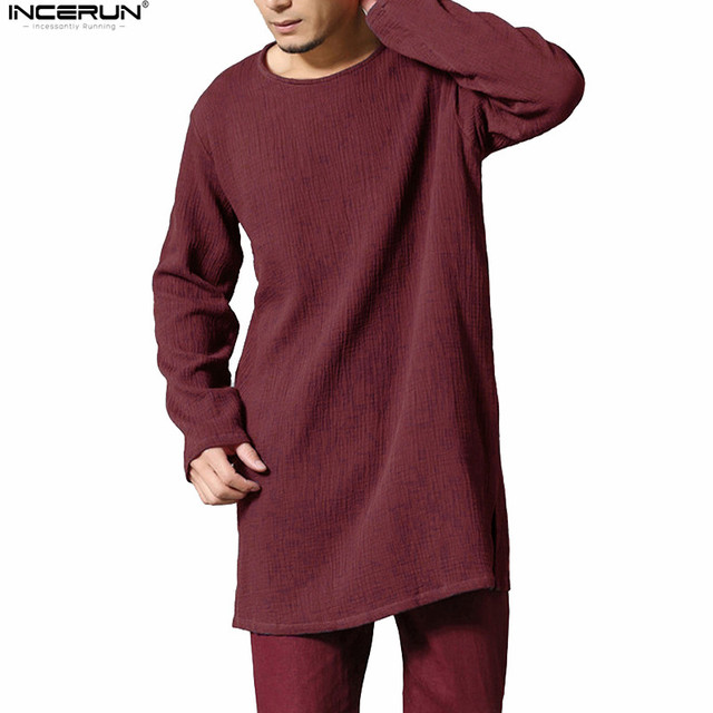 8faeec23 INCERUN Men Autumn Full Long Sleeve T Shirt Loose Comfortable Cotton Linen  Tee Tops Oversize Extra