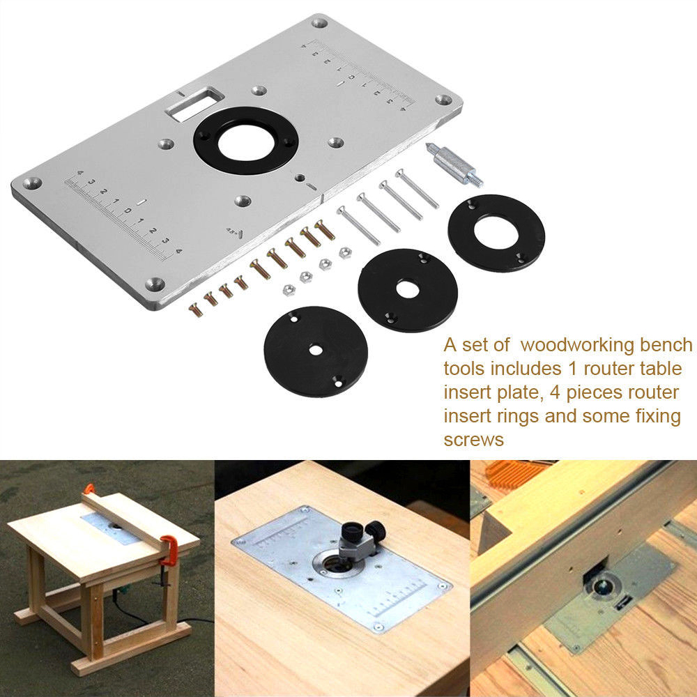Aluminum plunge router table insert plate w ring for diy aluminum router table insert plate w 4 rings screws for woodworking benches keyboard keysfo Gallery