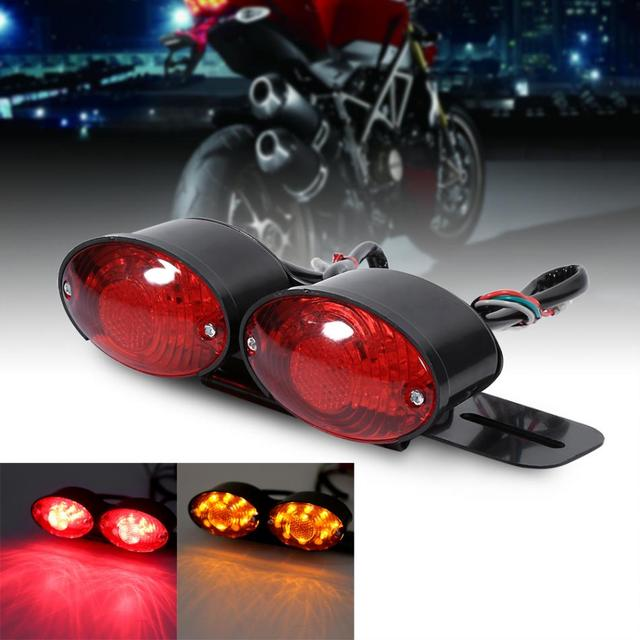 Motorcycle Rear Tail Lights Lamp Signal Light Dual Cat Eye Custom License Plate Holder Motorcycle Lamps Tail Light Bulbs