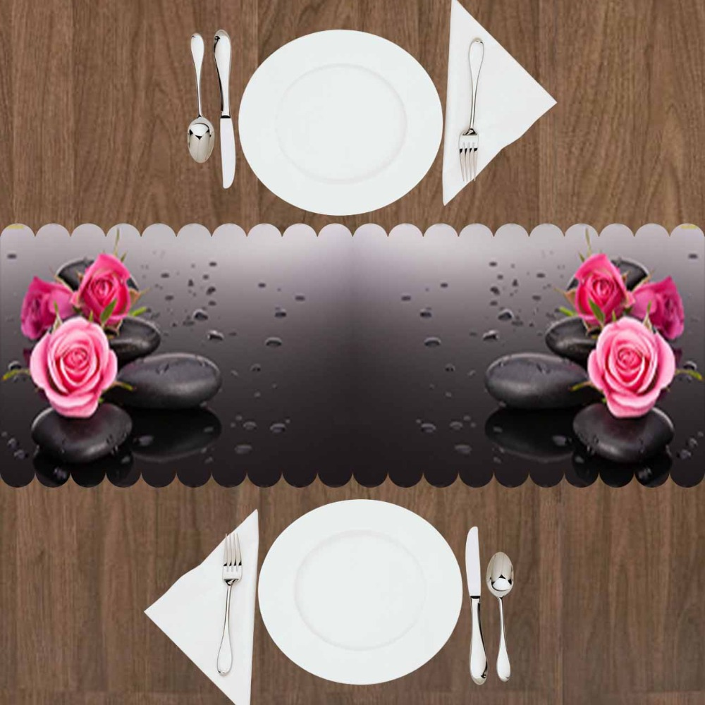 Else Black Spa Stones Pink Roses Flowers Floral  3d Print Pattern Modern Table Runner  For Kitchen Dining Room Tablecloth