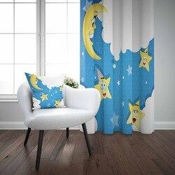 אחר לבן עננים כחול רצפת על צהוב כוכב ירחים 3d הדפסת ילדי תינוק ילדי חלון פנל סט וילון לשלב מתנה כרית מקרה