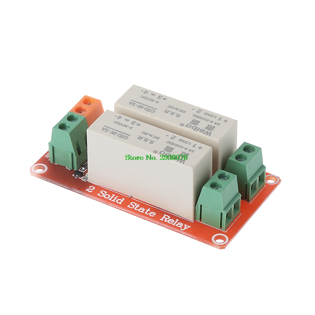 цена на 2 Channel SSR Solid State Relay High Lever Trigger 5A 5v12v For Arduino Uno R3