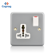 Durable grer color outdoor 1 gang 13A universal metal clad switch socket single