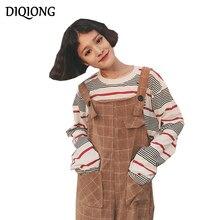 Diqiong Autumn Winter Women Rompers Suspenders Vintage Plaid Print Side Pockets Jumpsuits Strap Pants Casual Wide Leg Overalls