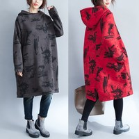 Vestidos Frauen Baggy Kleid 2018 Frühling Winter Vintage Print Kleid Mit Kapuze Pullover Langarm Hoodies Kleid Plus Größe de Festa
