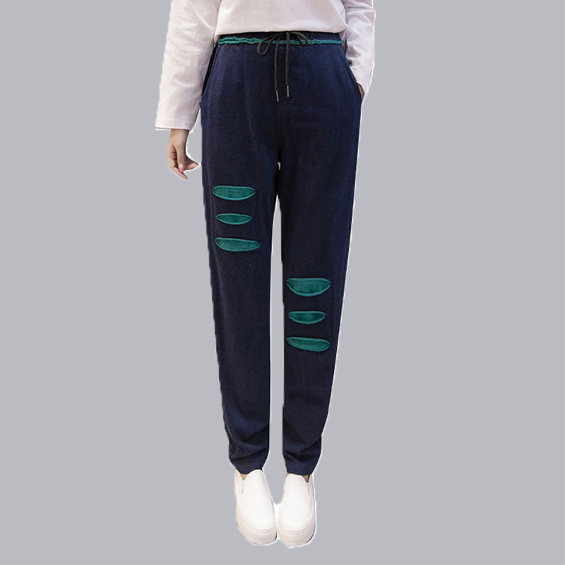 Harem Pants Jeans Women Plus Size Loose Denim Jeans Regular Drawstring Elastic Mid Waist Pants Women Trousers Female Bottoms plus size pants the spring new jeans pants suspenders ladies denim trousers elastic braces bib overalls for women dungarees