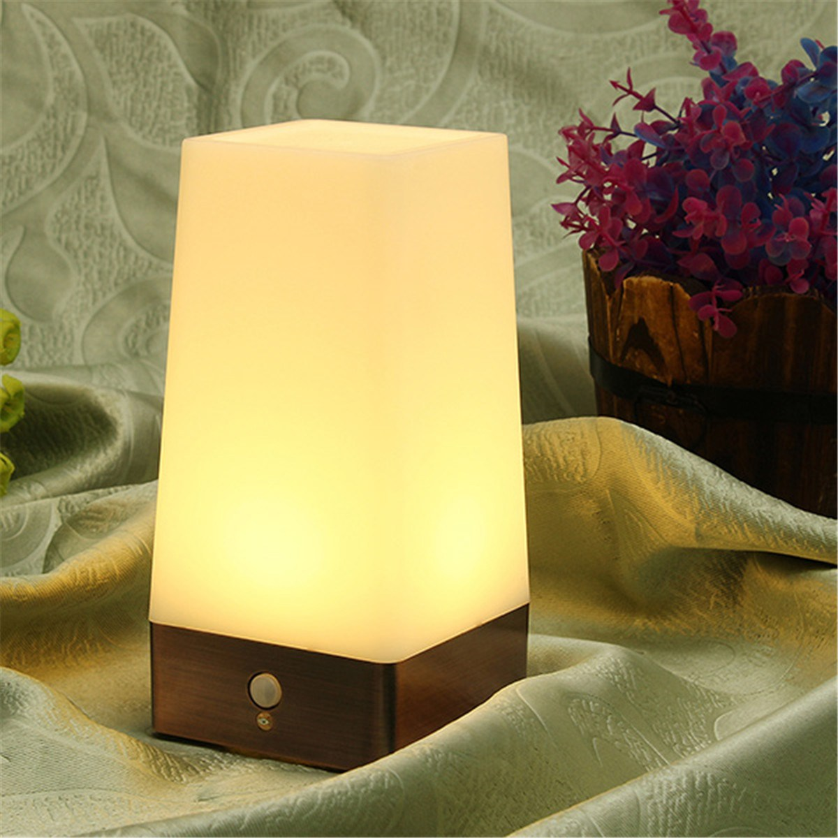 Square Warm White Lighting Dual Control LED Human Body Sensor Motion Night Light Battery Powered Table Bedside Lamp Home Decor keyshare dual bulb night vision led light kit for remote control drones