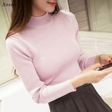 The new sweater has a pullover turtleneck winter Pullover Sweater back half female temperamentdress Korean