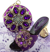 Rhinestones shoes matching bag set italy design size 38 to 42 purple color  shoe and bag matching set african aso ebi SB8274-2 517512302ae7