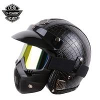 OBK PU Leather Motorcycle Harley Helmet 3 4 Vintage Motorcycle Helmet Open Face Half Helmet Moto