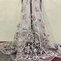African french net lace with beads 3d fabric flower high quality for nigerian wedding dresses 5yard/lot HJ815 1