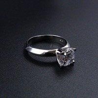 White Gold Vermeil 925 Sterling Silver 7mm 1.3ct Solitaire Ring