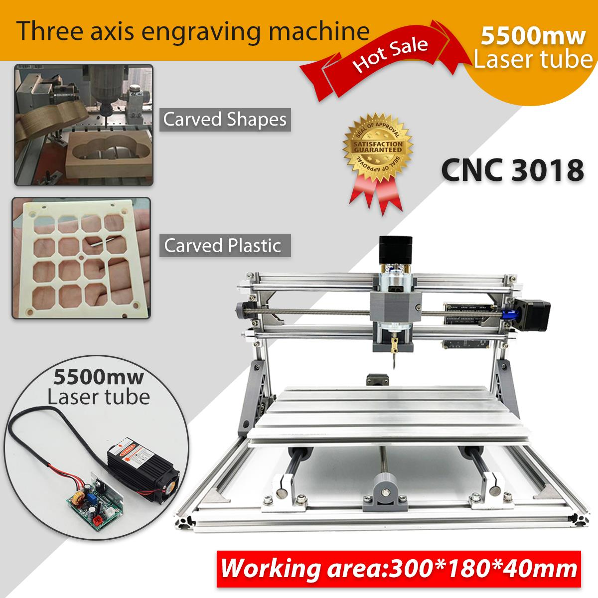 CNC 3018 Mini Engraving Machine 5500mw/2500mw Laser PCB Milling Machine Wood Carving Machine GRBL Control CNC Router Kit