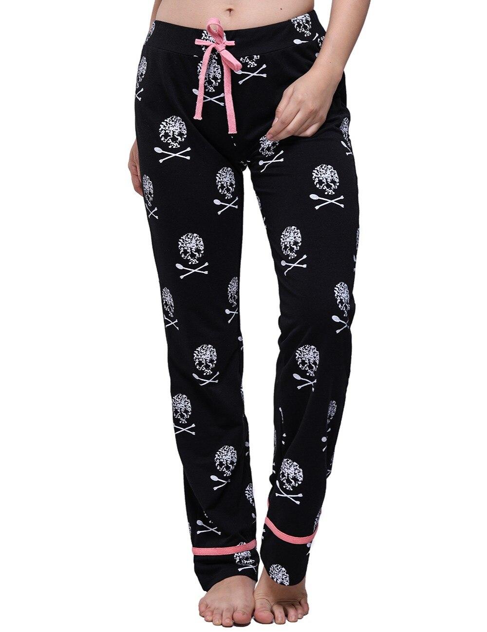 2018 Pantalones de mujer Casual de cintura baja Flare pierna ancha pantalones largos Palazzo pantalones de pijama con estampado de calavera en casa