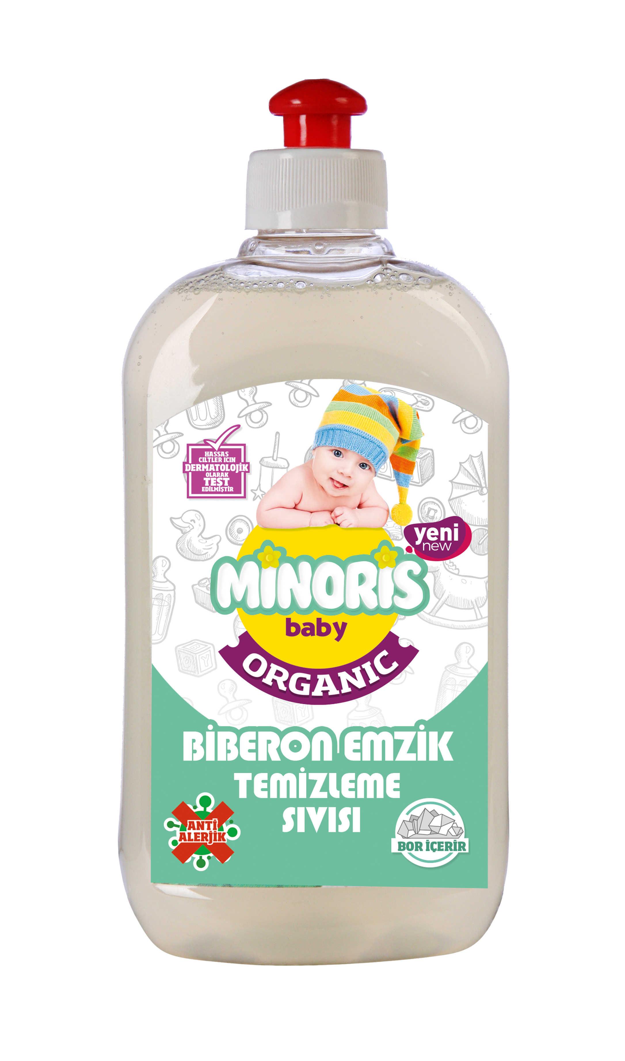 Minoris เด็ก Organik Antialerjik Sıvı Biberon Emzik Temizleyici
