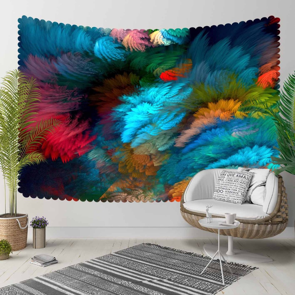 Else Blue Red Green Brown Storm Colored Abstract 3D Print Decorative Hippi Bohemian Wall Hanging Landscape Tapestry Wall Art