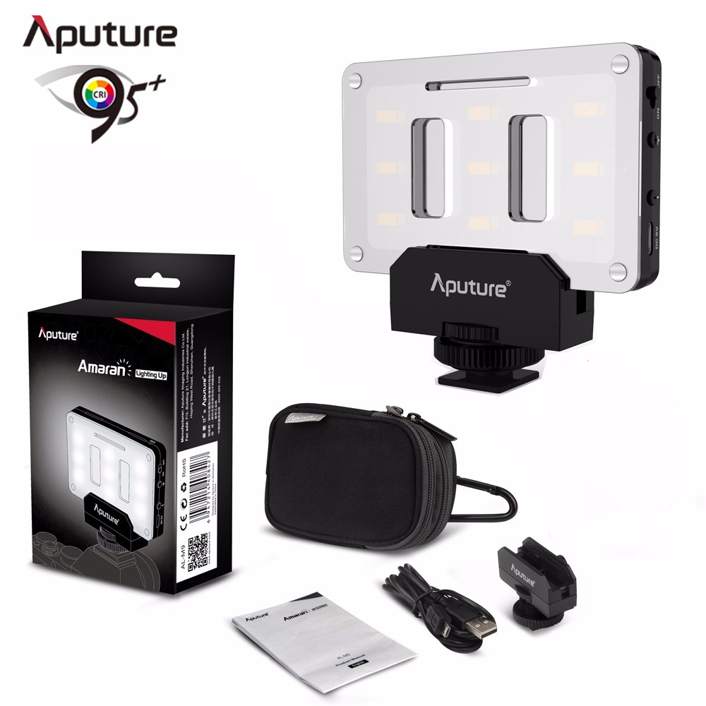 Original Aputure AL-M9 TLCI/CRI 95+ Light For camera 9pcs SMD Mini Sized LED Fill Video Light USB Rechargeable Built in Battery aputure ls mini 20 3 light kit two mini 20d and one mini 20c led fresnel light tlci cri 96 40000lux 0 5m with battery and case