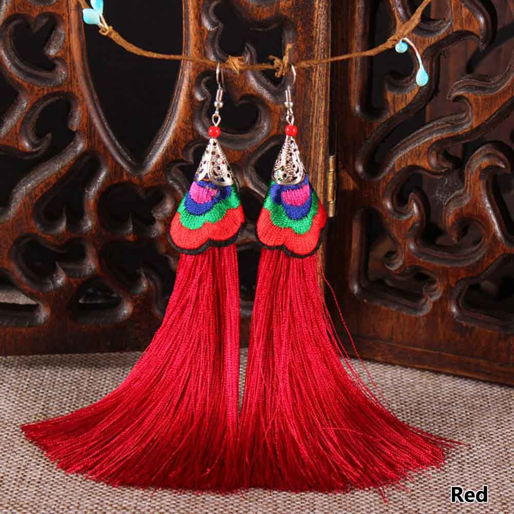 Vintage Ethnic Embroidery Stage Performance Long Tassel font b Earrings b font For Women Drop Dangle