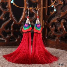 Vintage Ethnic Embroidery Stage Performance Long Tassel Earrings For Women Drop Dangle Thread Earrings