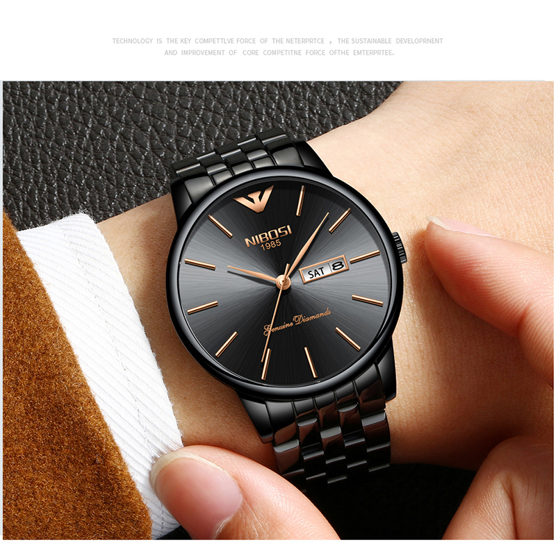 NIBOSI Relogio Masculino Mens Watches Top Brand Luxury Date Week Watch Men Waterproof Black Watch With Gold Montre Homme 2018    (18)