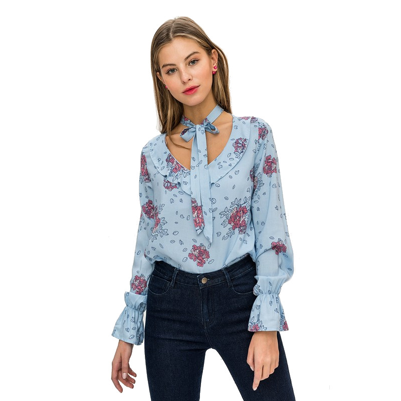 Blouses & Shirts blouse befree 1811521366-42 TmallFS self tie solid blouse